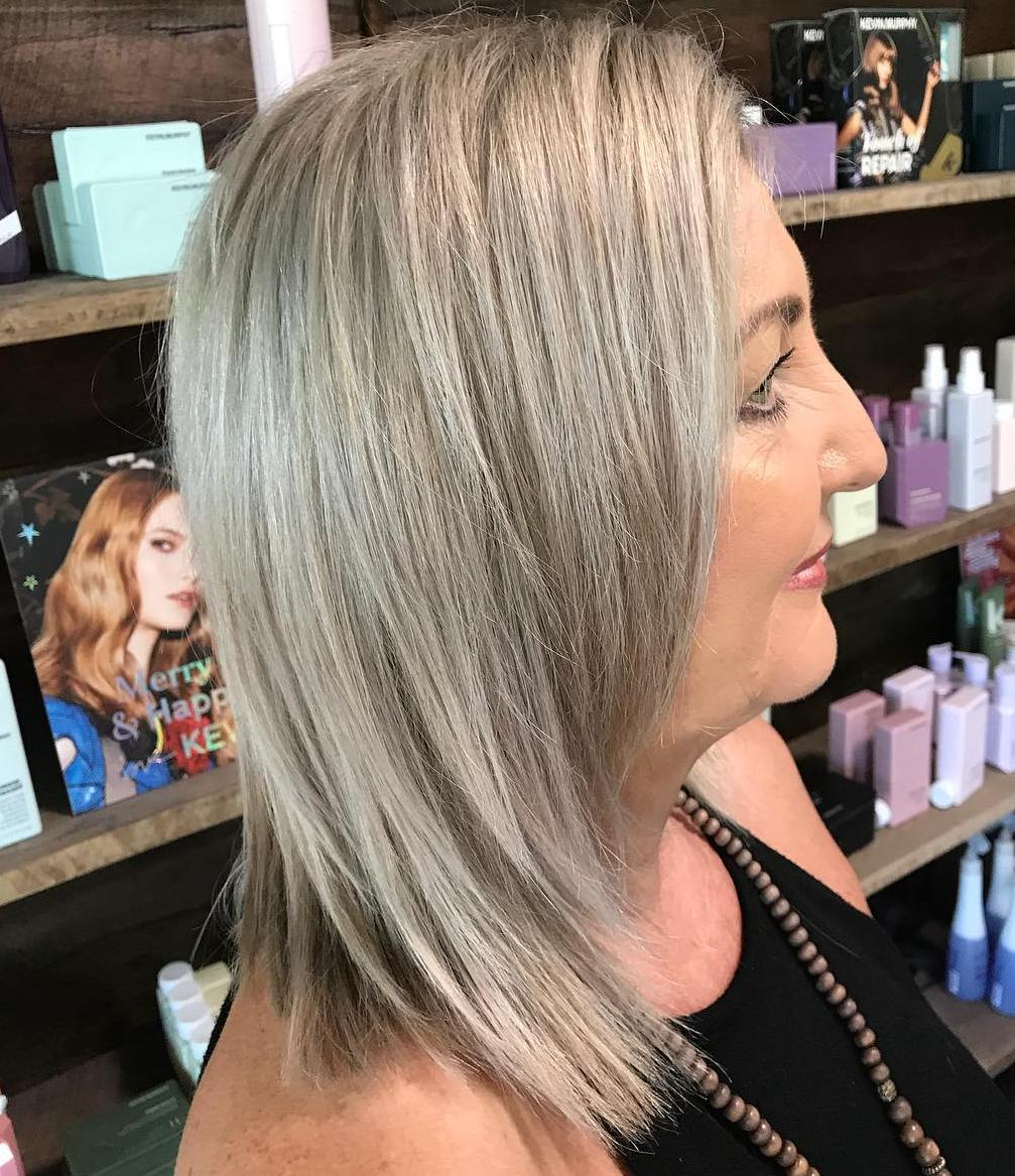 Medium Layered Ash Blonde Shag Cut for Straight Hair