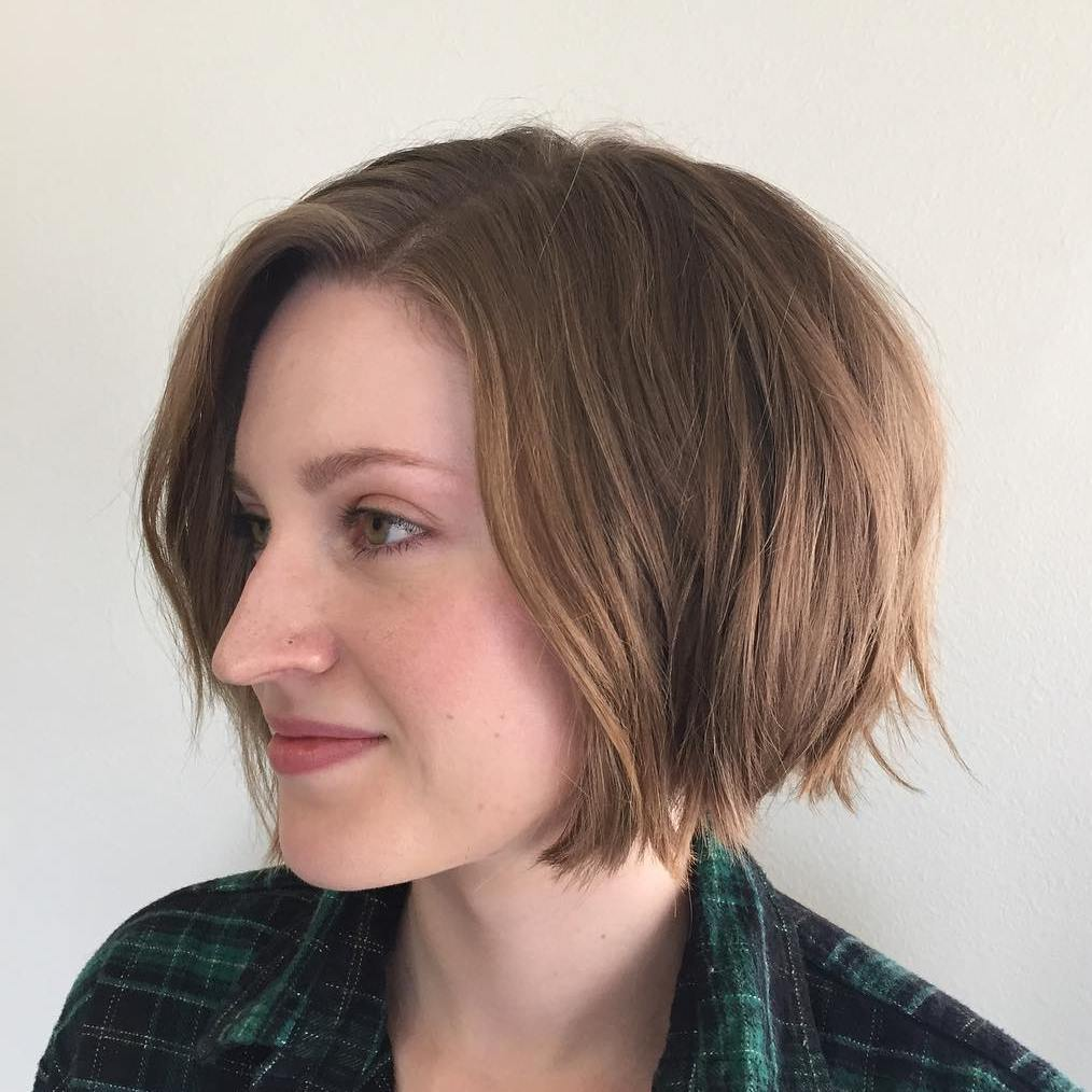 Very Short Jaw-Length Tousled Brown Bob