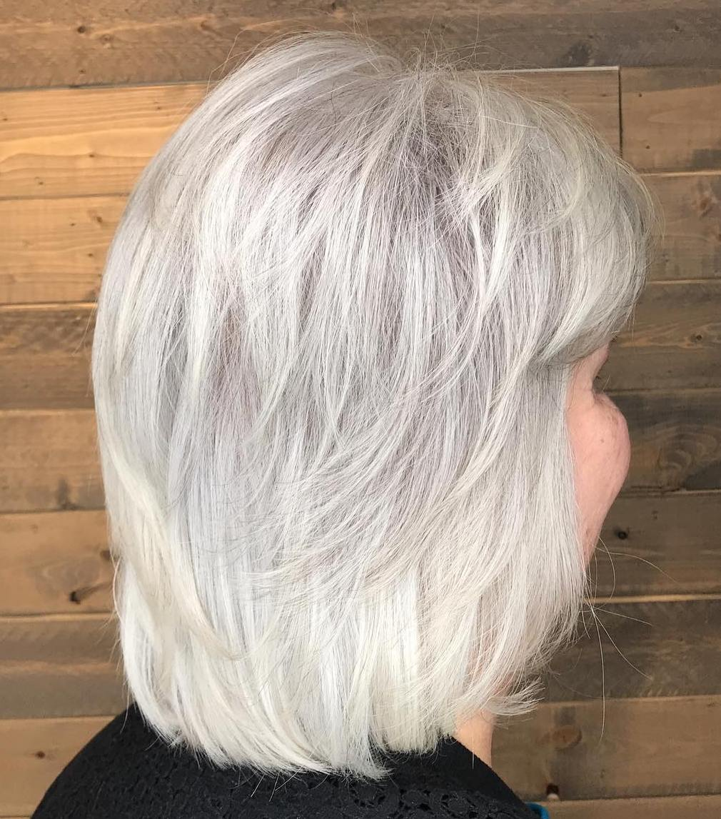 Shoulder Length White Gray Haircut for 60 and Over
