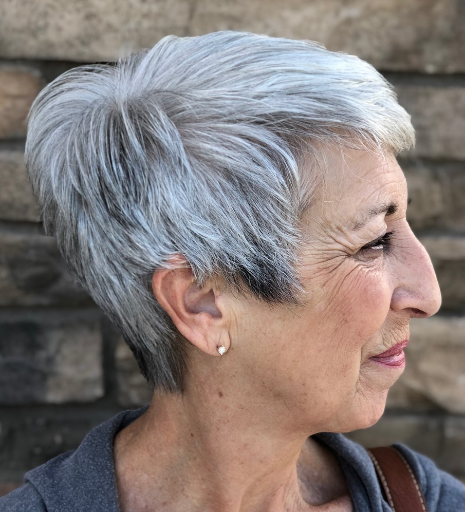 Tapered Piecey Gray Pixie for Straight Hair