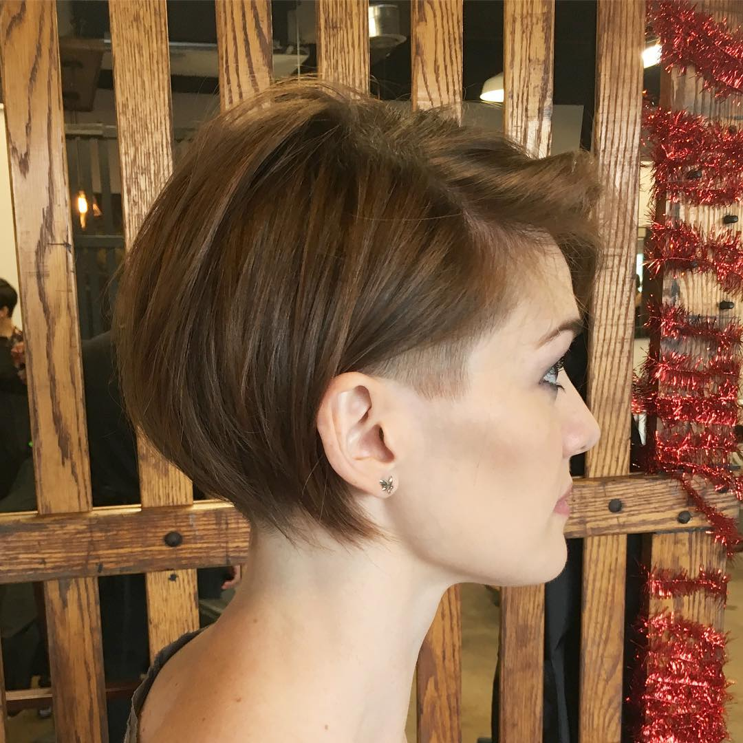 Short Fine Bob Haircut with a Shaved Temple