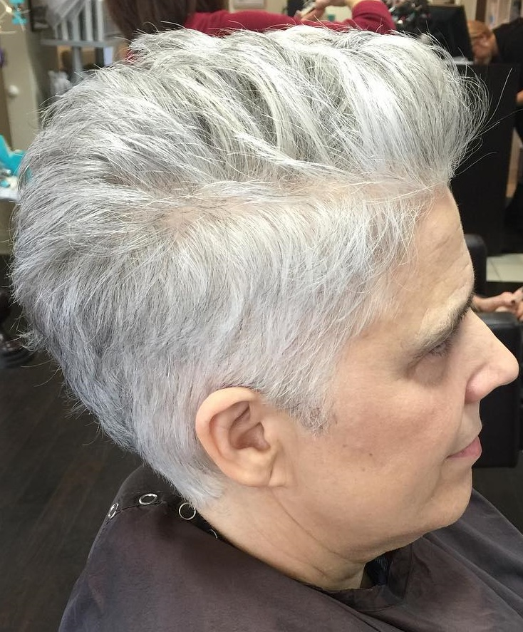 60+ Short Gray Haircut with Longer Top