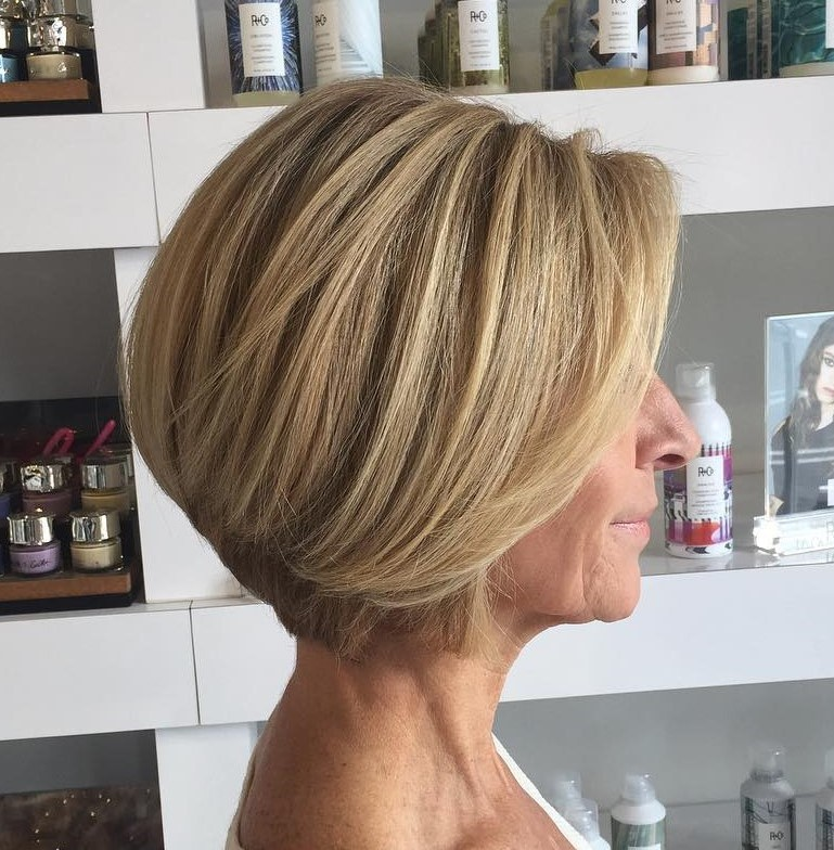 Over 60 Caramel Blonde Bob