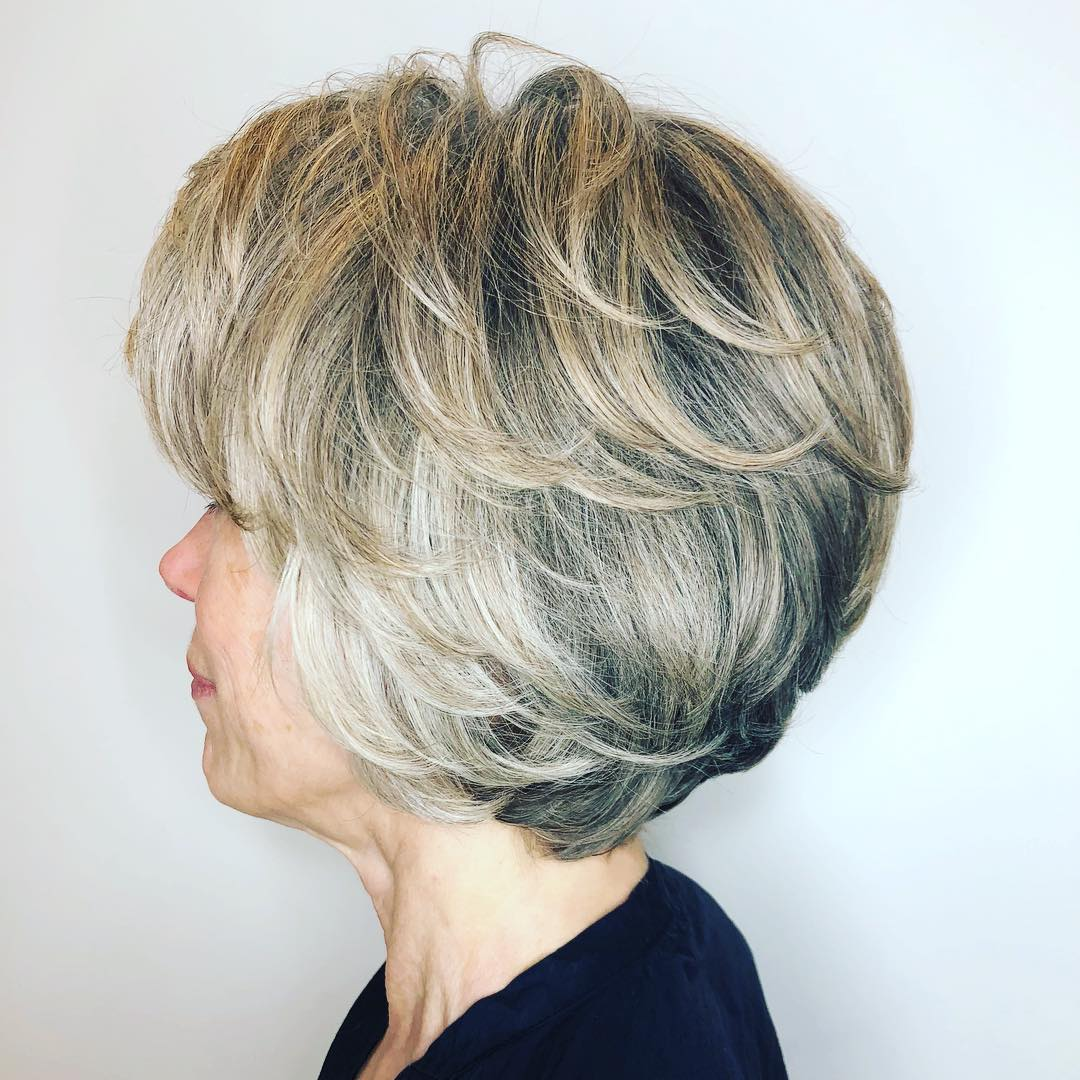 Shorter Layered Voluminous Blow Out Hairstyle over 50