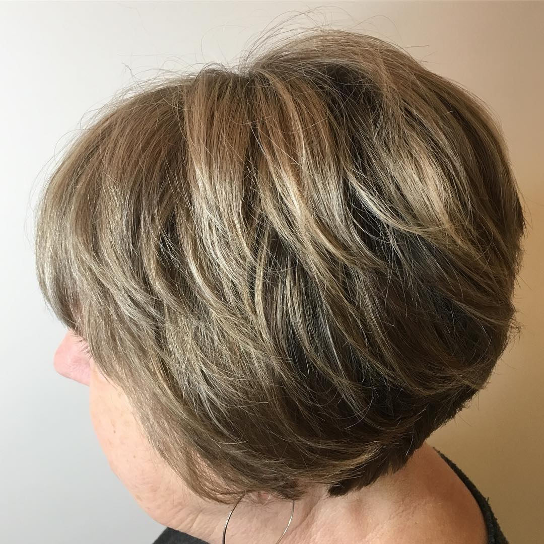 60+ Ash Blonde Short Highlighted Hairstyle