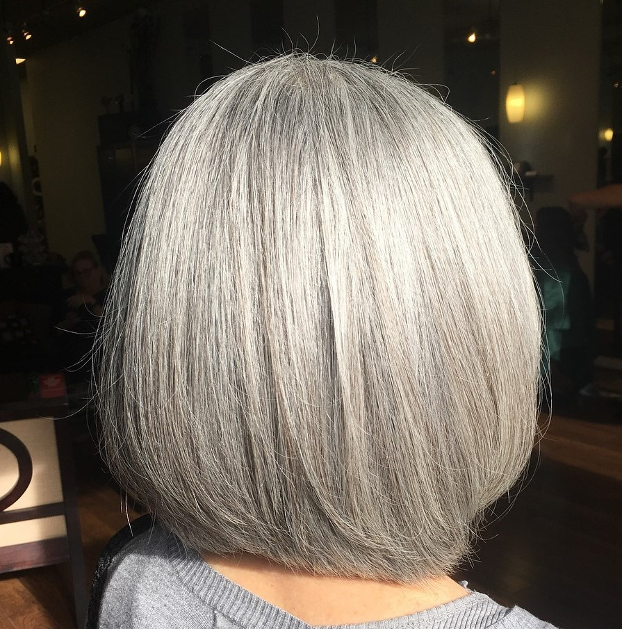 Straight Gray Shoulder-Length Bob