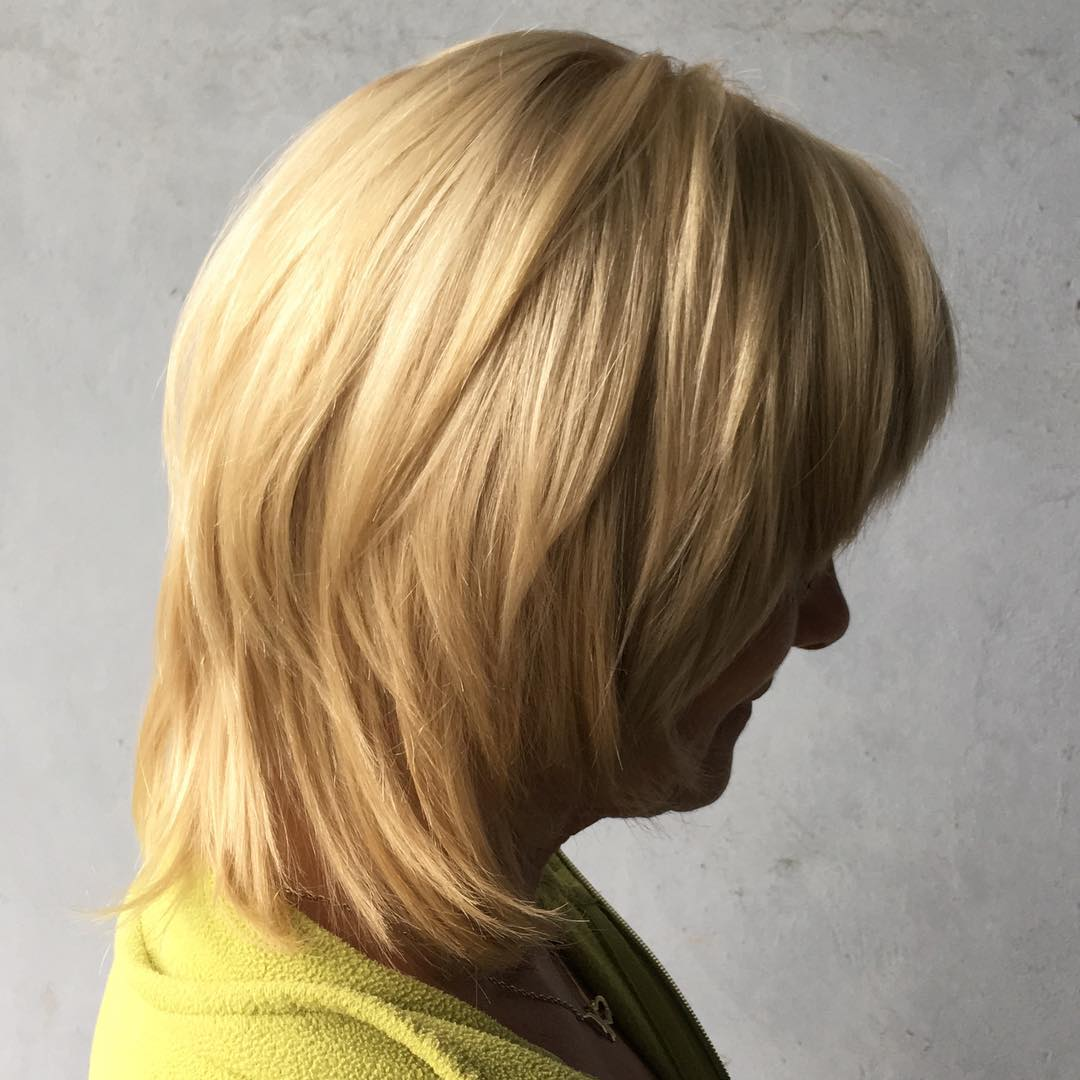 Medium Wheat Blonde Shag for Women in Their 50s