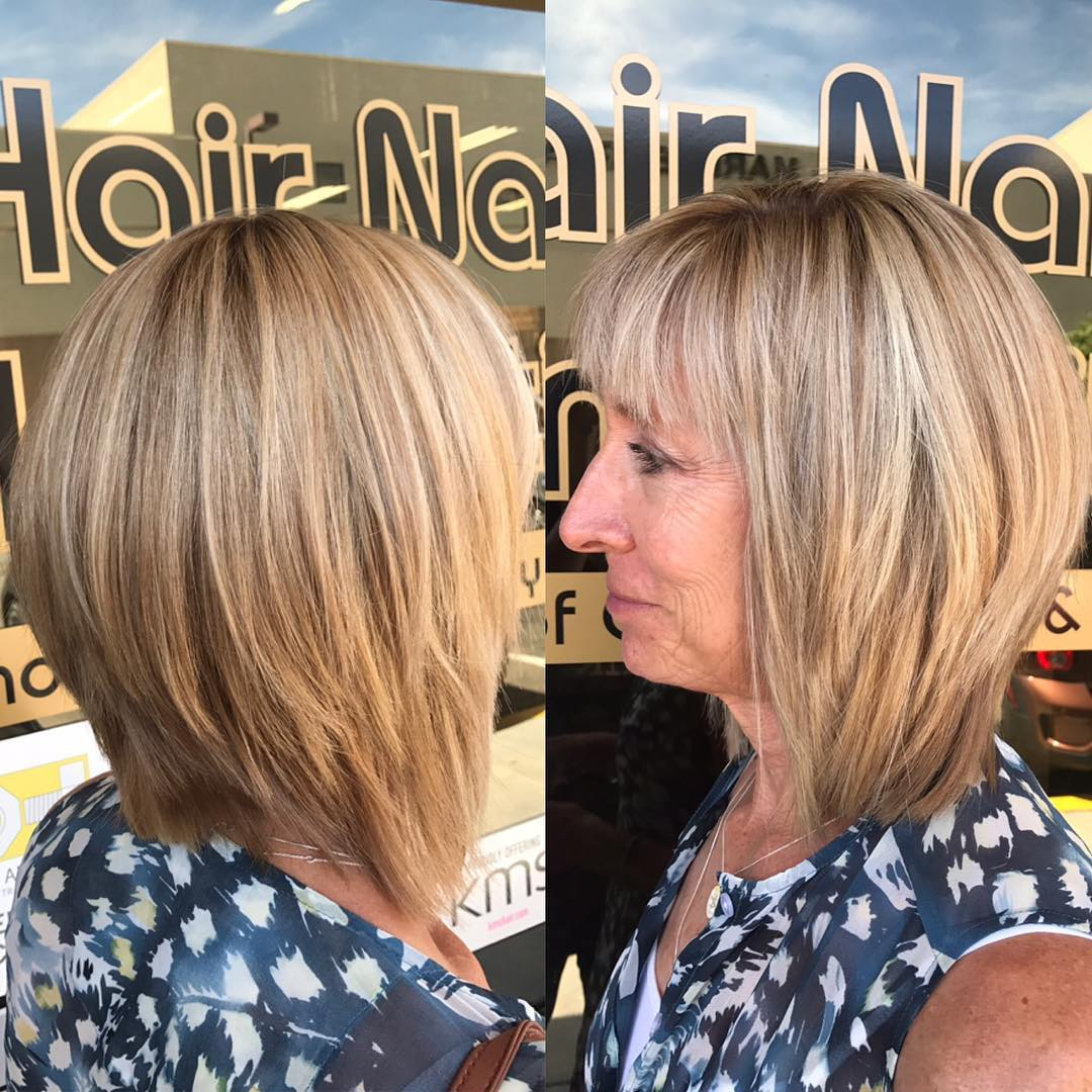 60+ Medium Layered Bronde Bob with Bangs