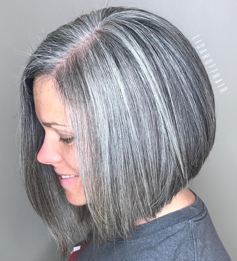 Sleek Angled Salt and Pepper Bob