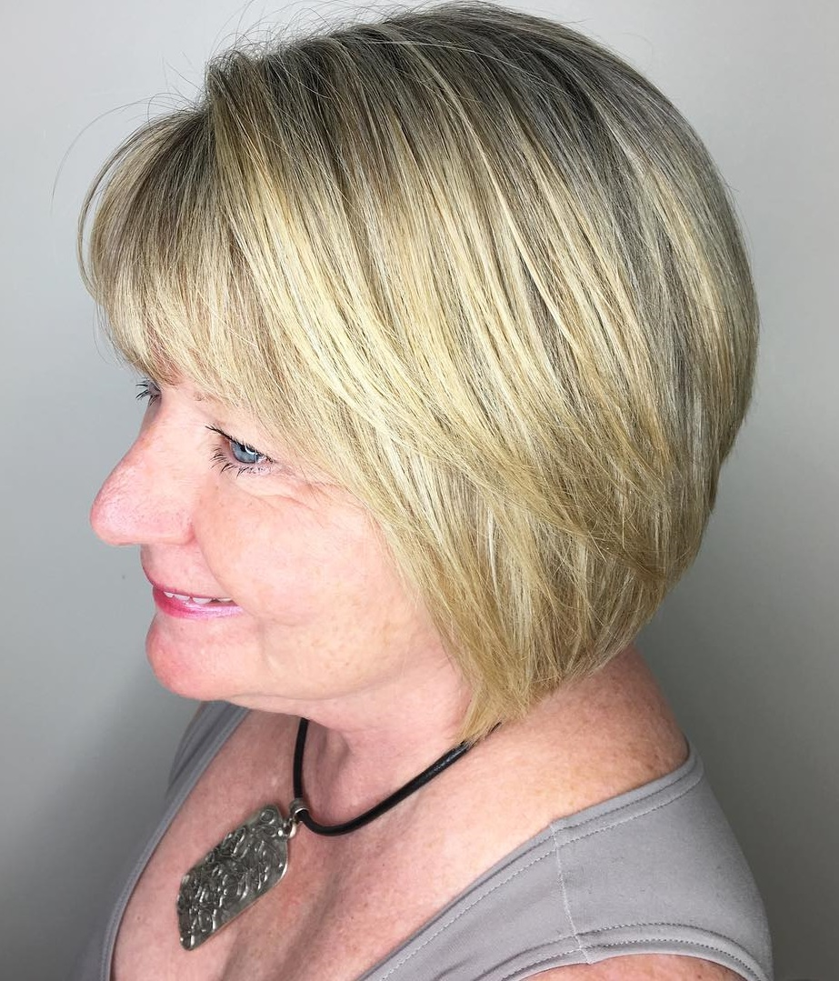 Straight Blonde Bob with Bangs and Darker Roots