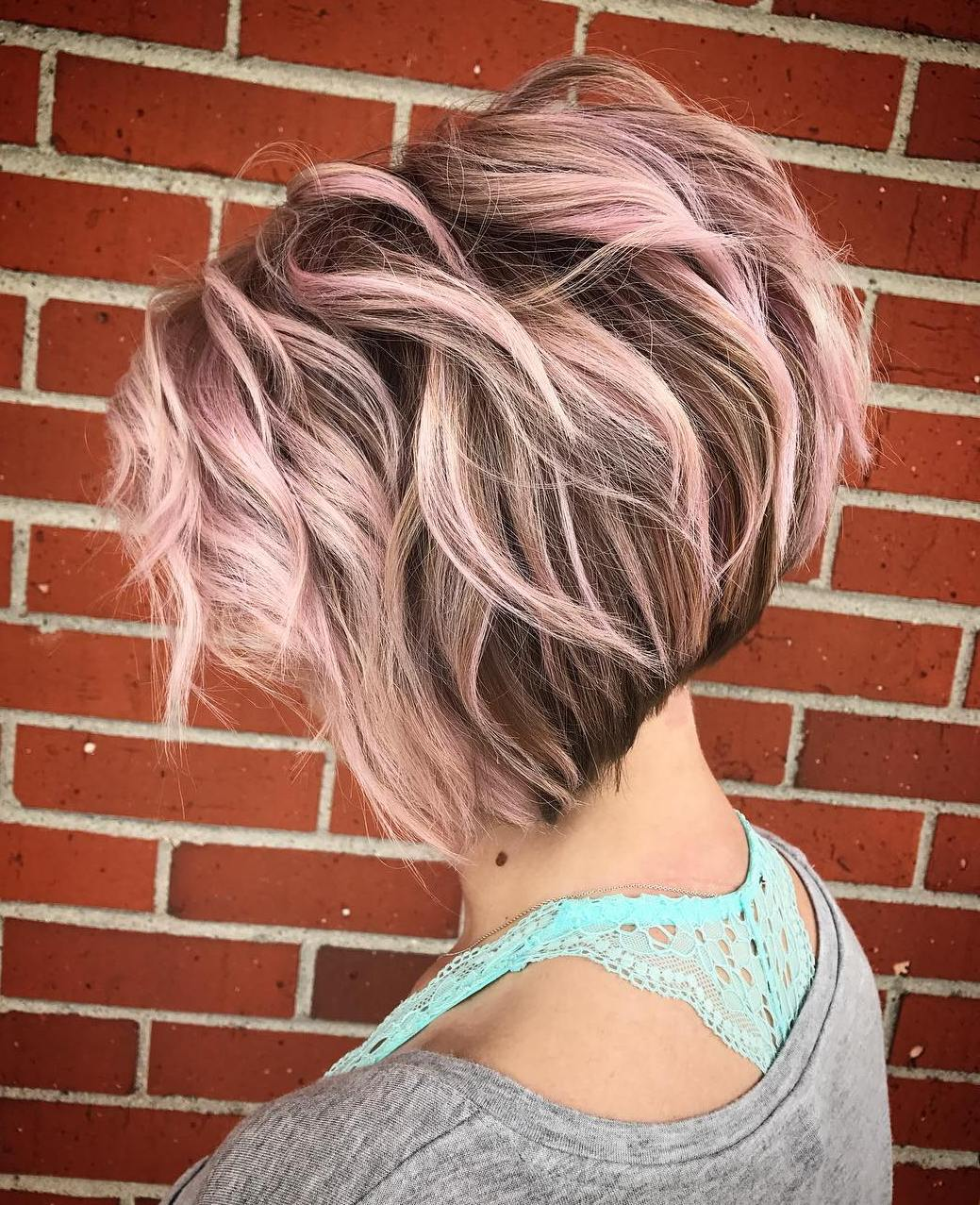 Brown Wavy Short Bob with Pastel Pink Balayage