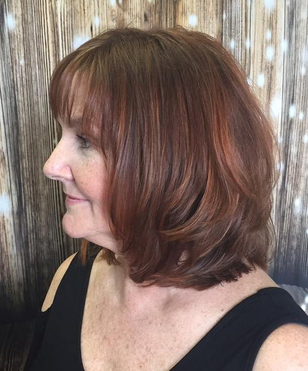 Collarbone Red Cut with Thin Bangs for over 50