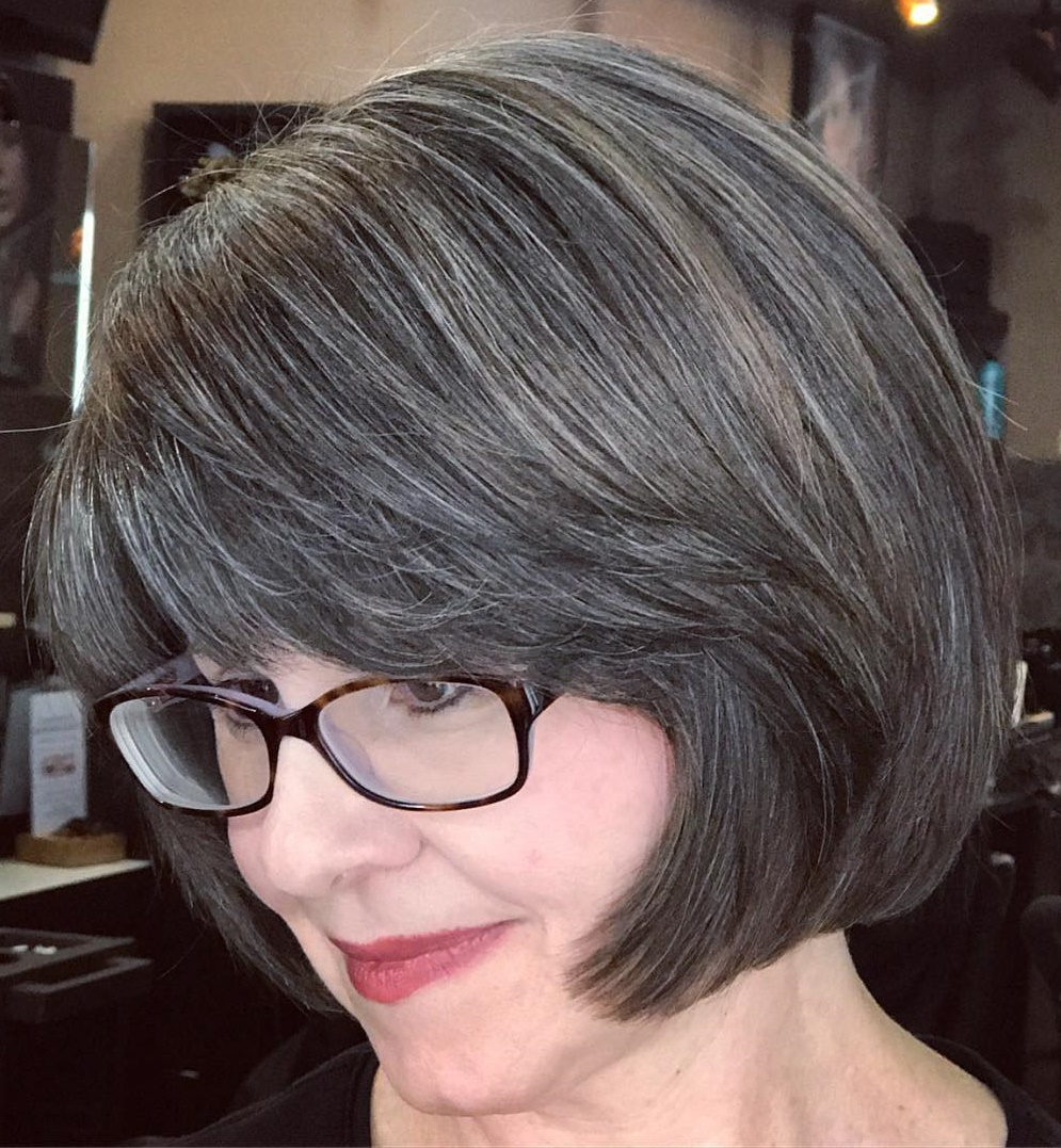 Brunette Bob with Subtle Gray Highlights