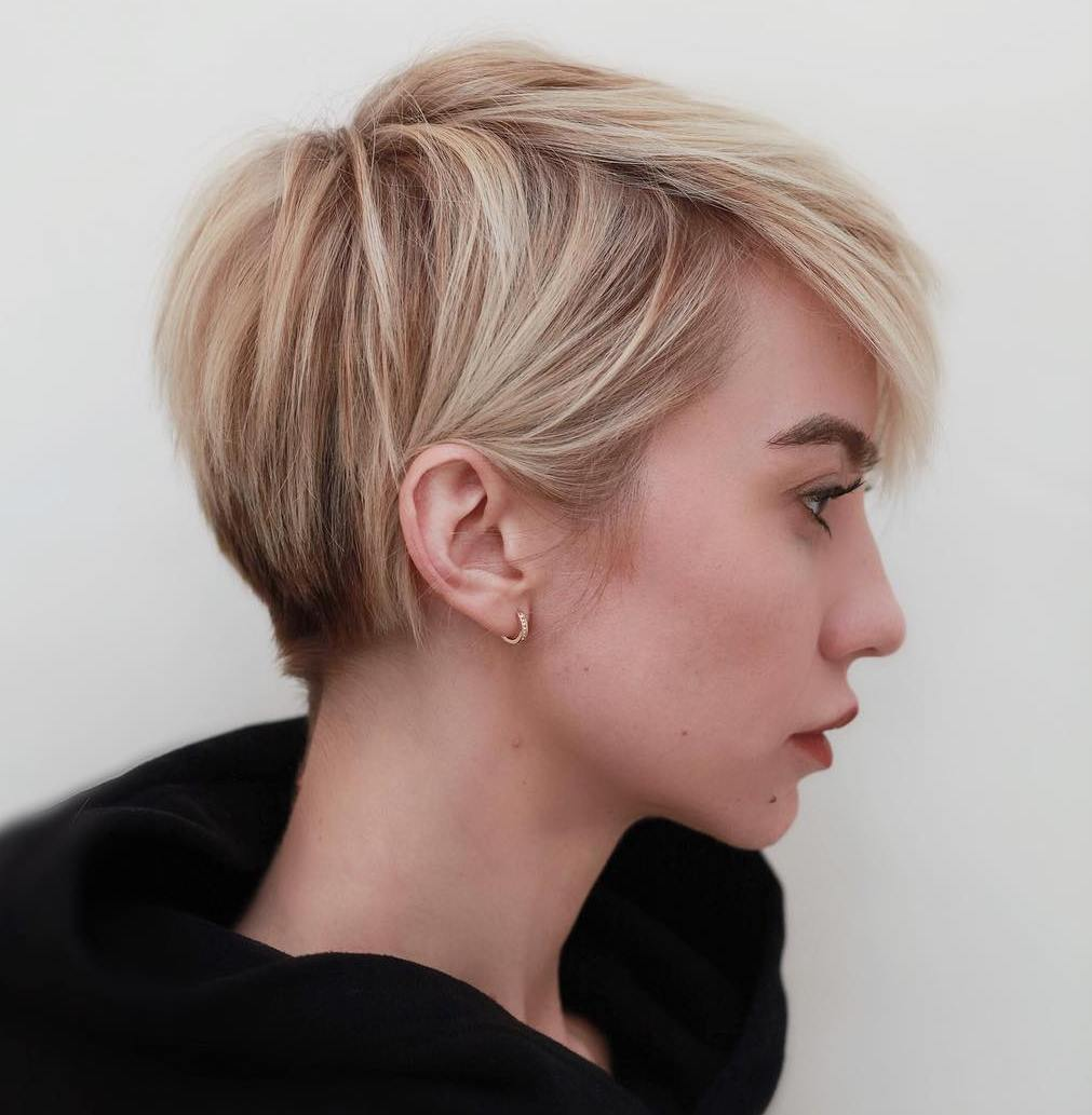 Short Haircut with Dark Roots for Fine Locks