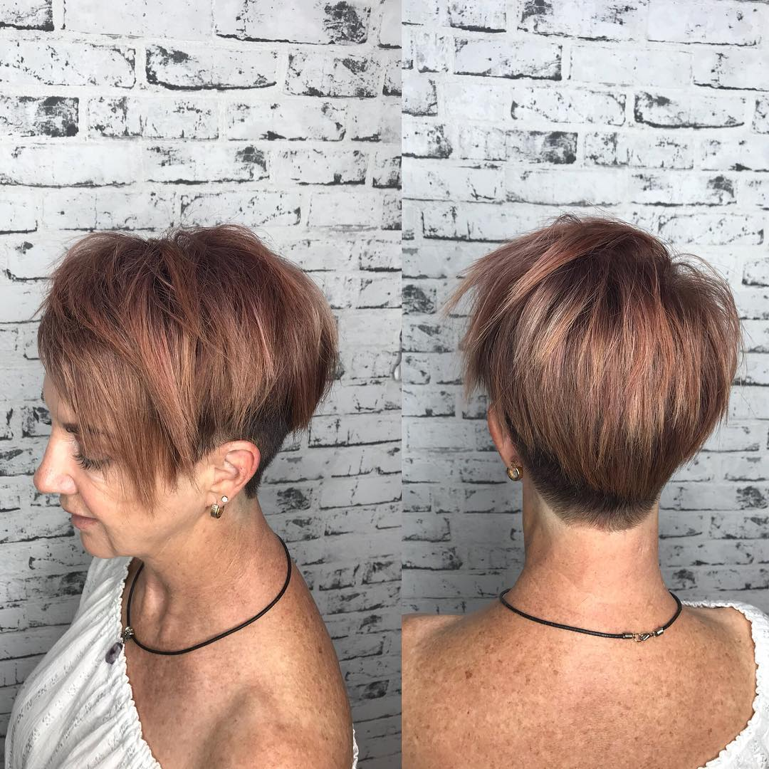Short Copper Brown Undercut Hairstyle for 50 and Up