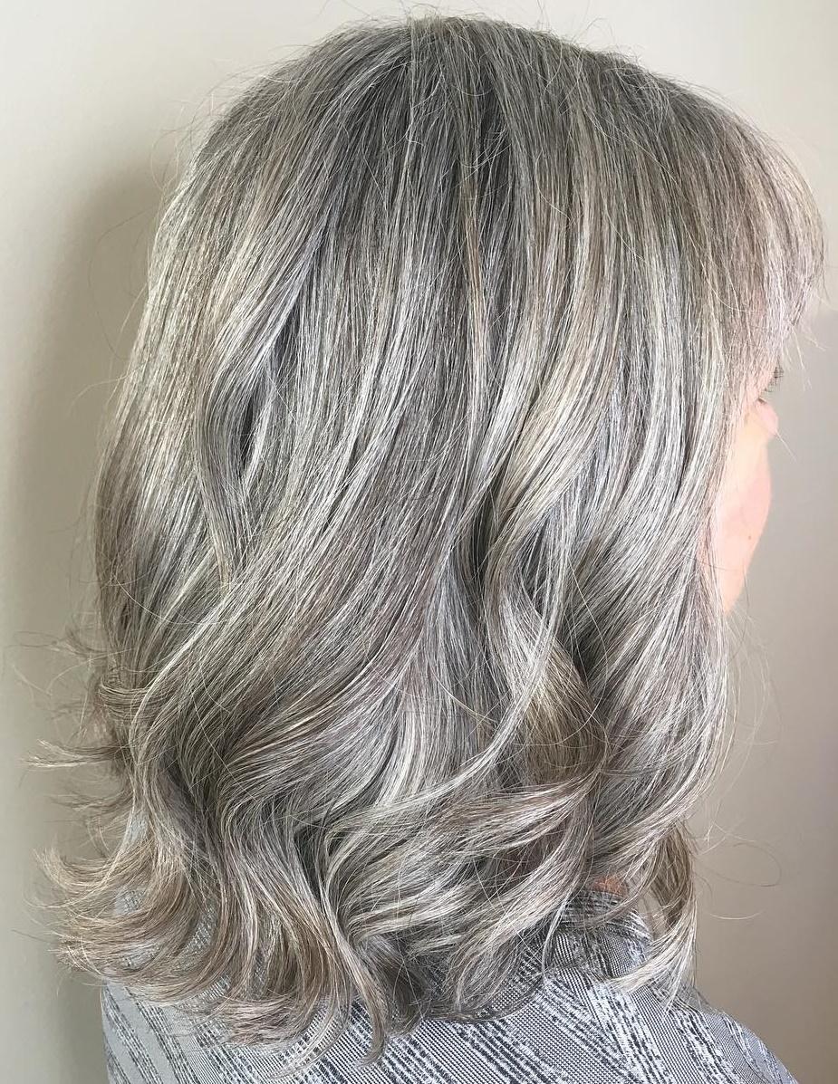 Medium Wavy Naturally Gray Hairstyle