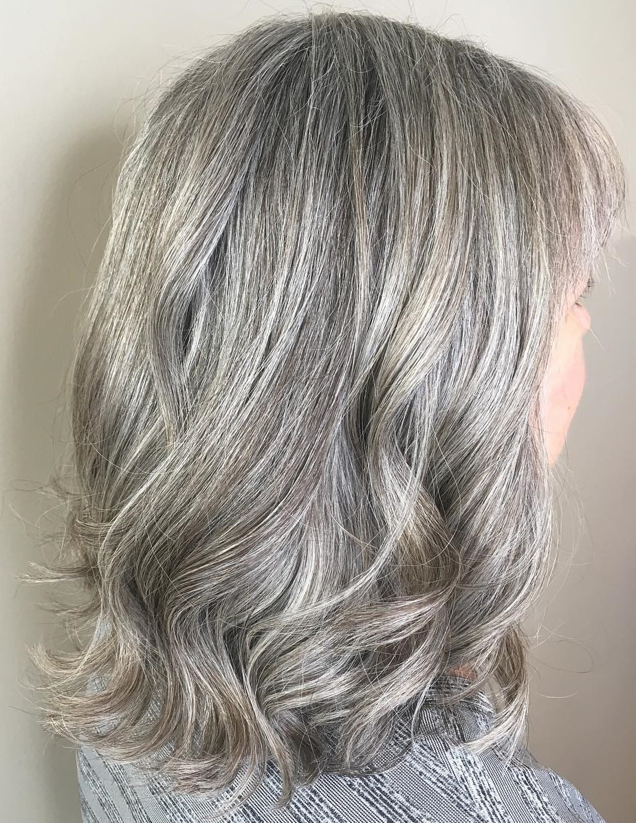 Medium Wavy Naturally Gray Hairstyle