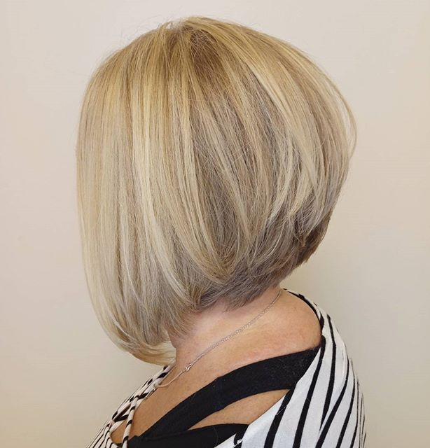 Blonde Inverted Bob for Older Women