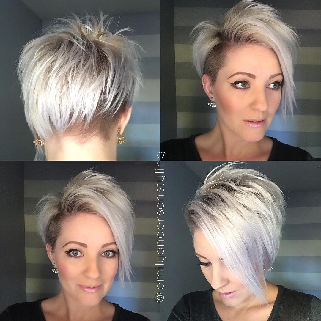 Asymmetrical Blonde Pixie with Temple and Nape Undercut