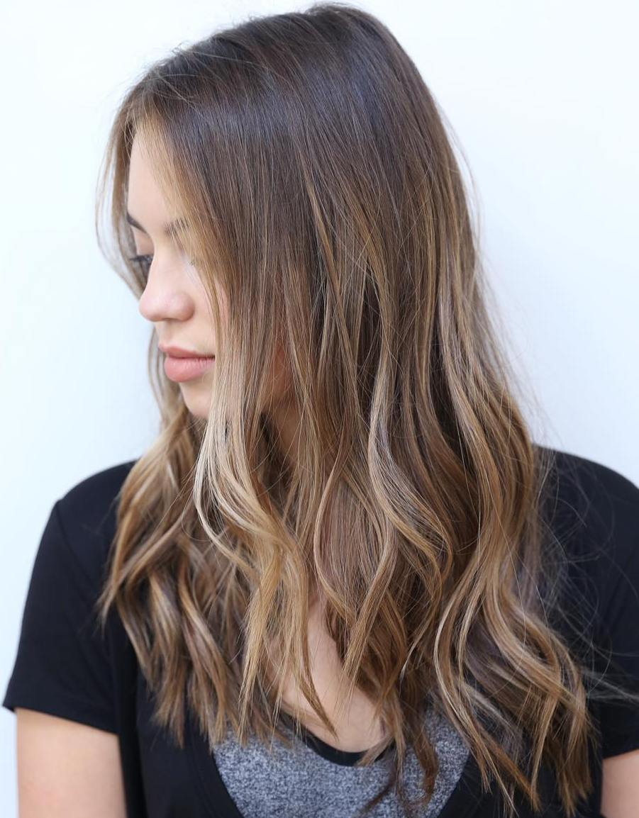 Long Chest Length Thin Hair with Subtle Balayage Ombre