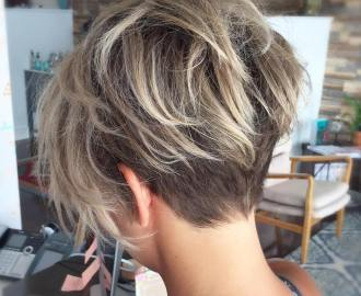 undercut pixie bob with blonde balayage
