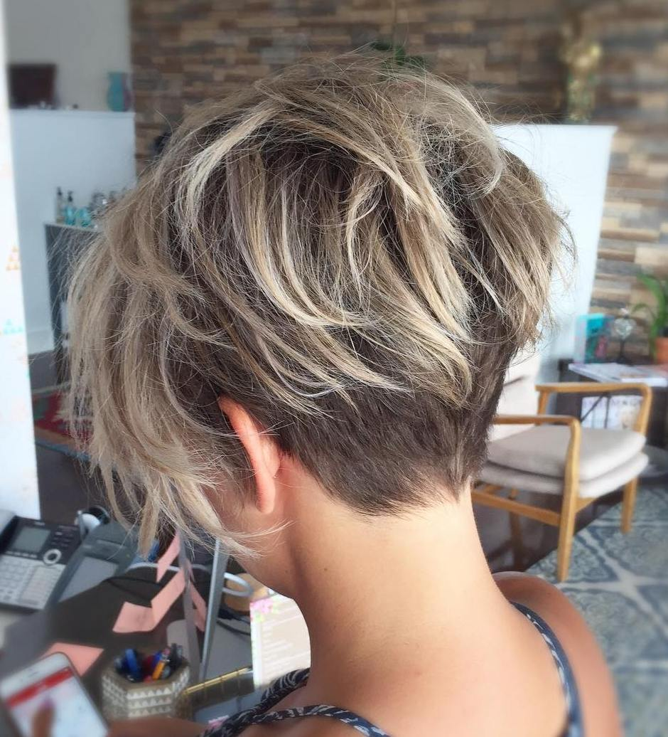 Undercut Fine Hair Pixie with Blonde Balayage