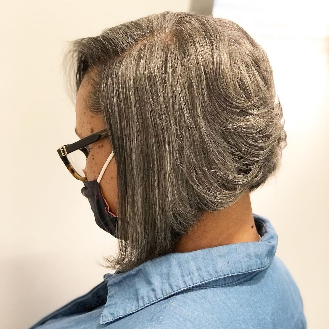 Salt-and-Pepper Bob Hairstyle for Older Women