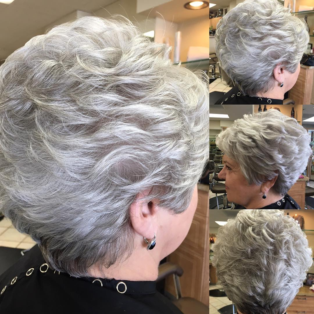 Short Feathered Gray Hairstyle