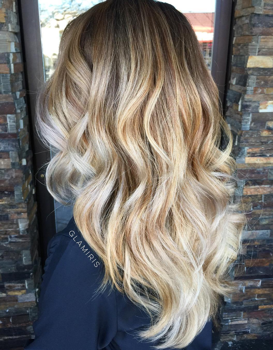 Wavy Layered V Cut with Blonde Colormelt and Balayage Highlights