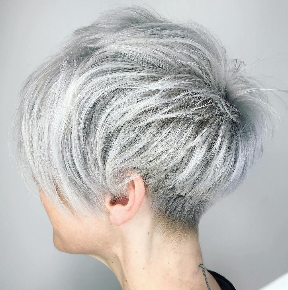 Silver Shaggy Tapered Pixie