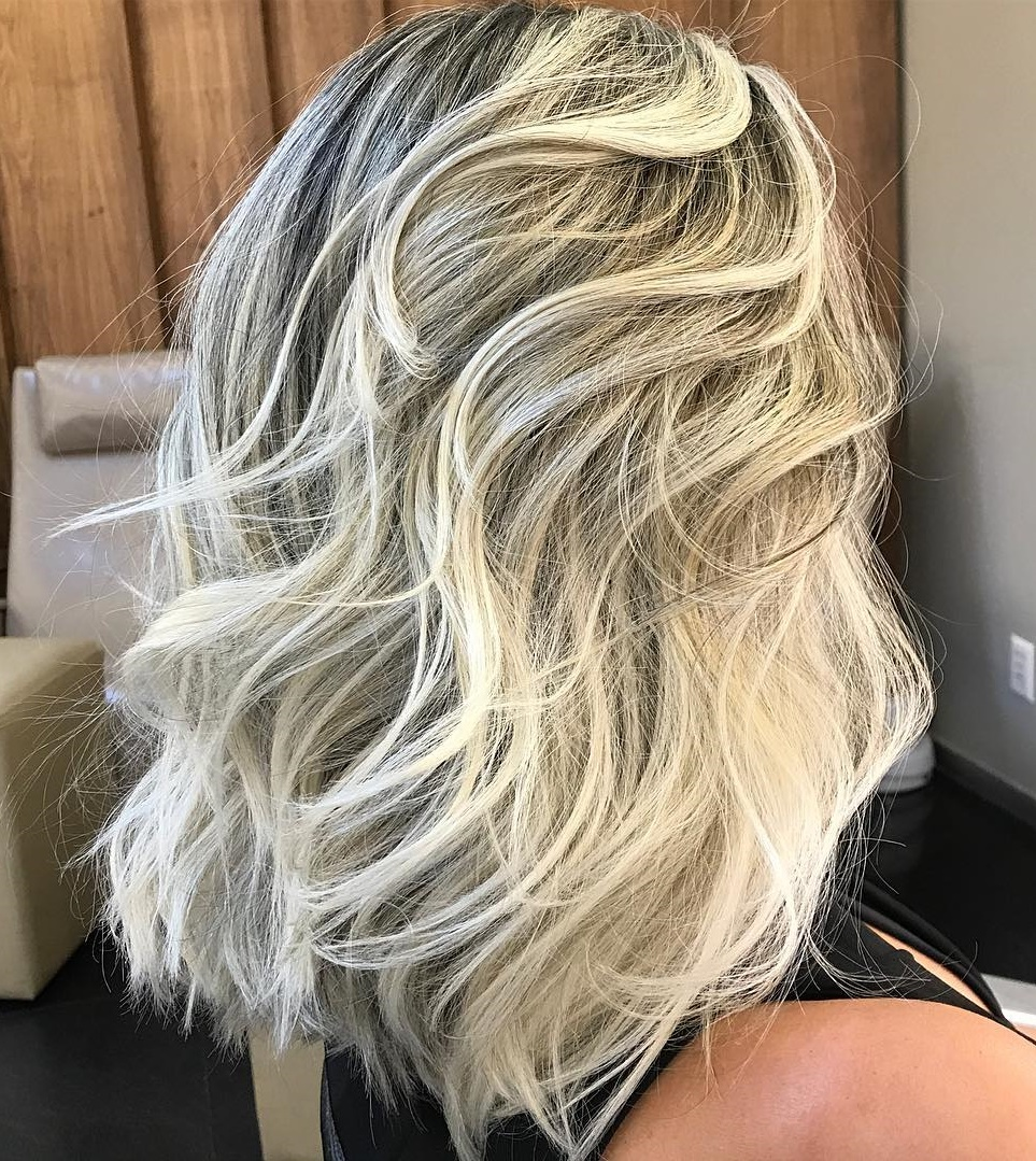 Ash Blonde Medium Hairstyle with Layers