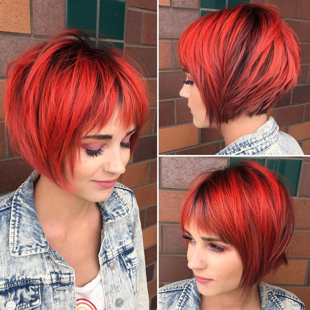 Bright Red Layered Bob with Bangs