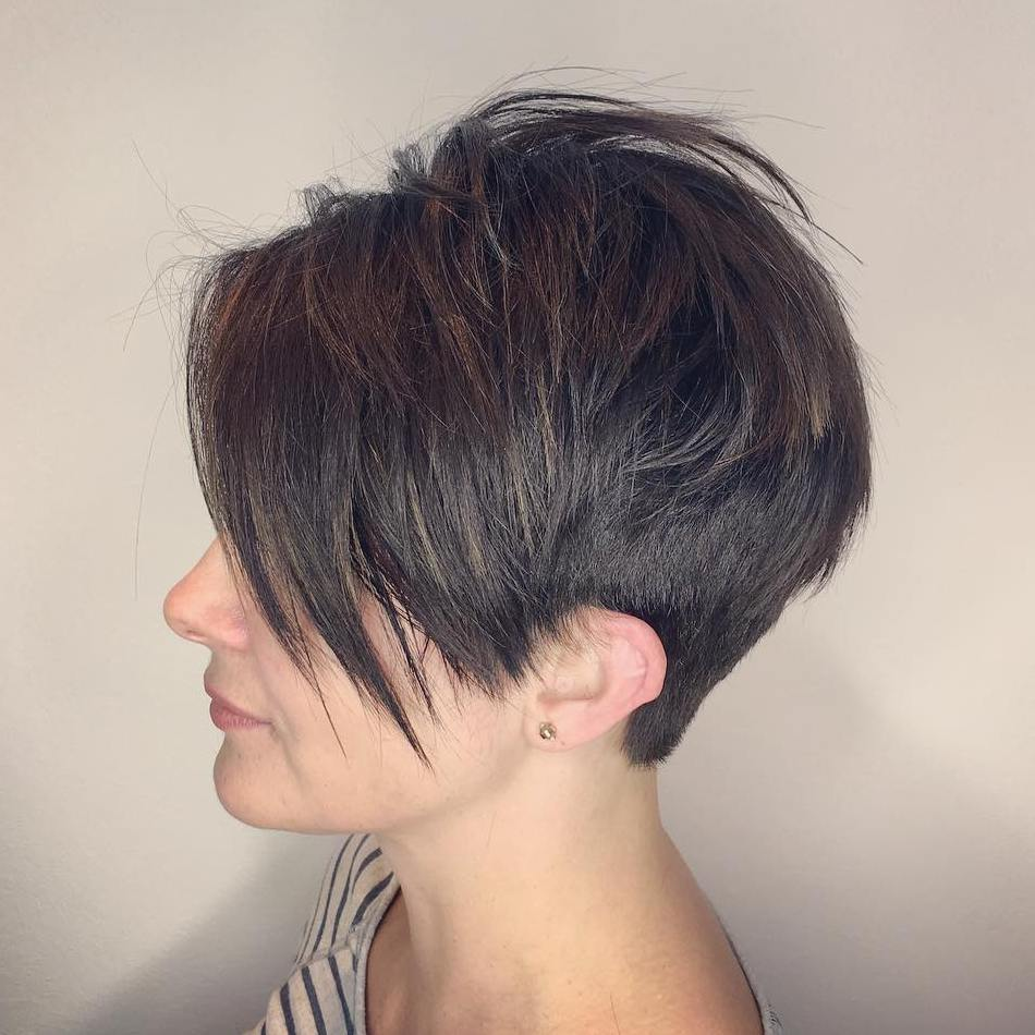 Brunette Spiky Undercut Pixie with Shaggy Layers