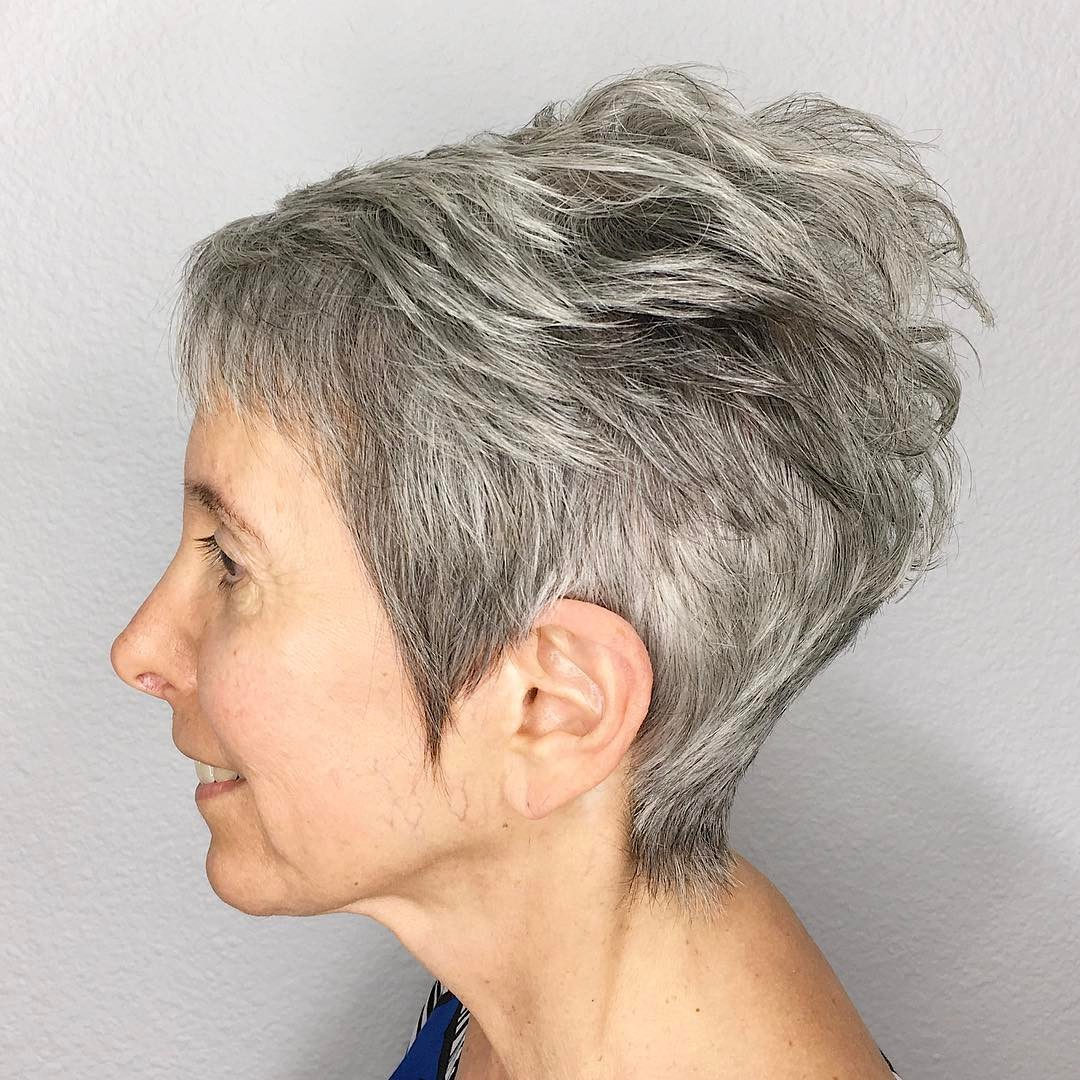 Short Tapered Gray Pixie with Feathered Top