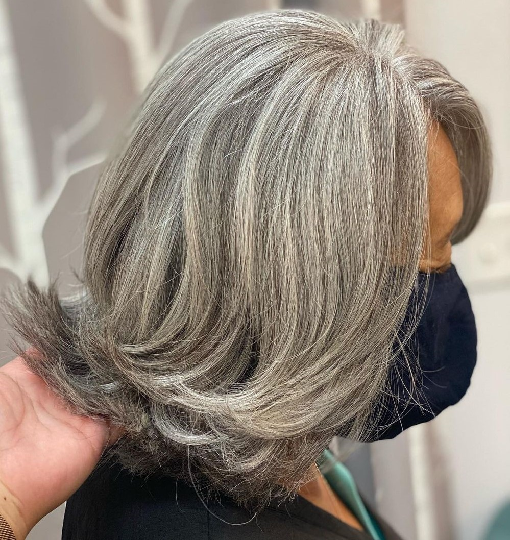 Medium Natural Gray Hair with Layers