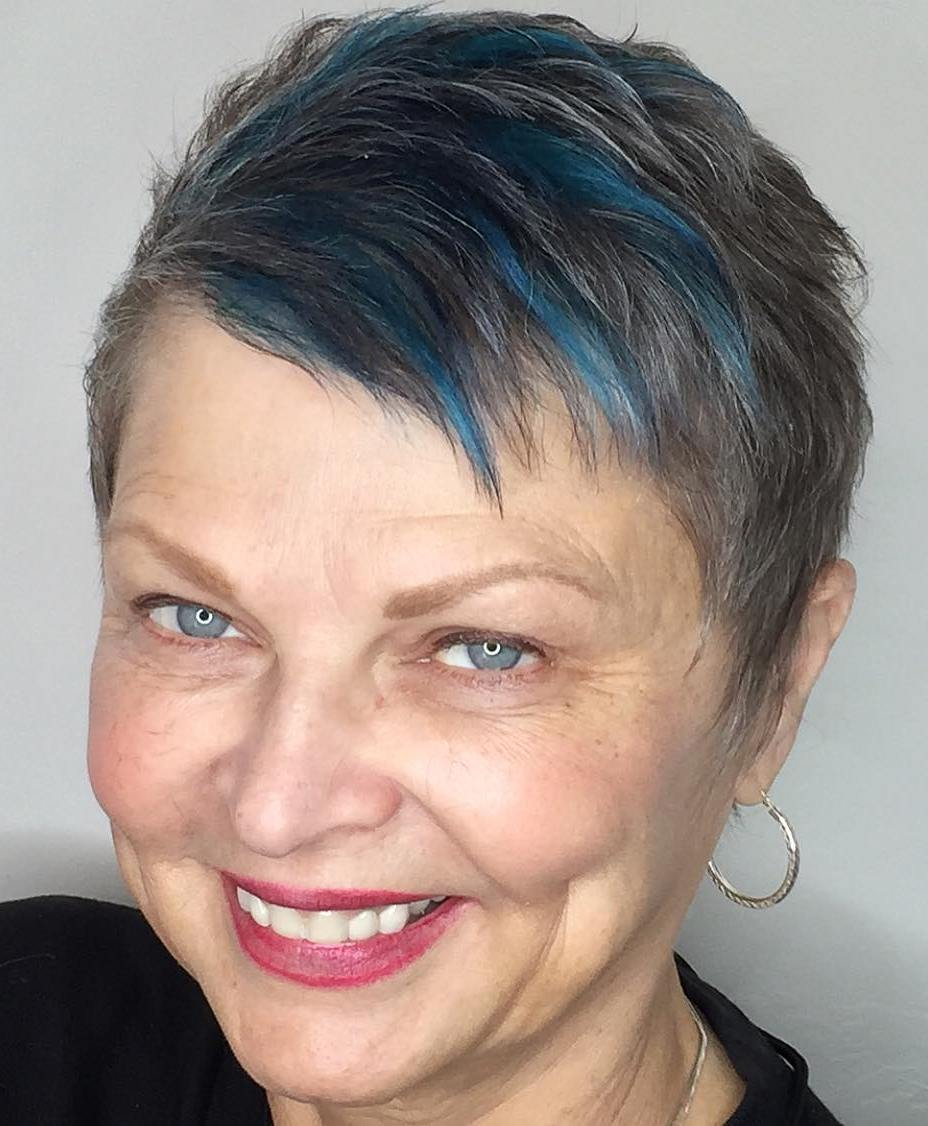 Extra Short Pixie with Partial Blue Highlights