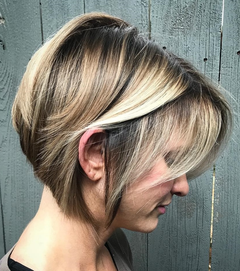 Short Inverted Brown Bob with Blonde Highlights