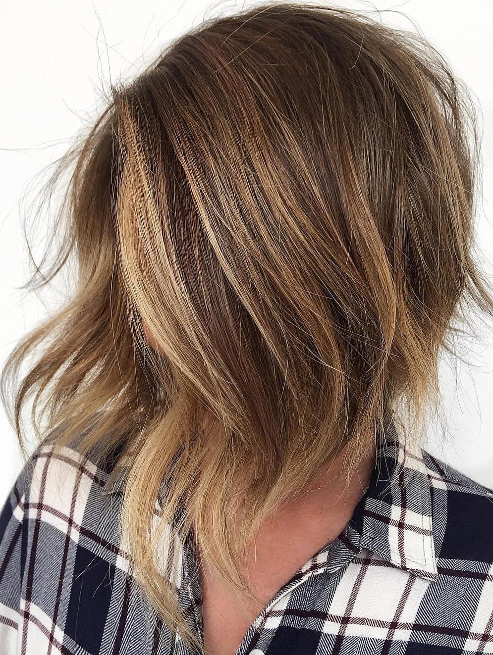 Inverted Stacked Choppy Bronde Bob