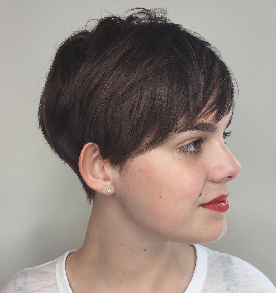 Pretty Brunette Layered Pixie