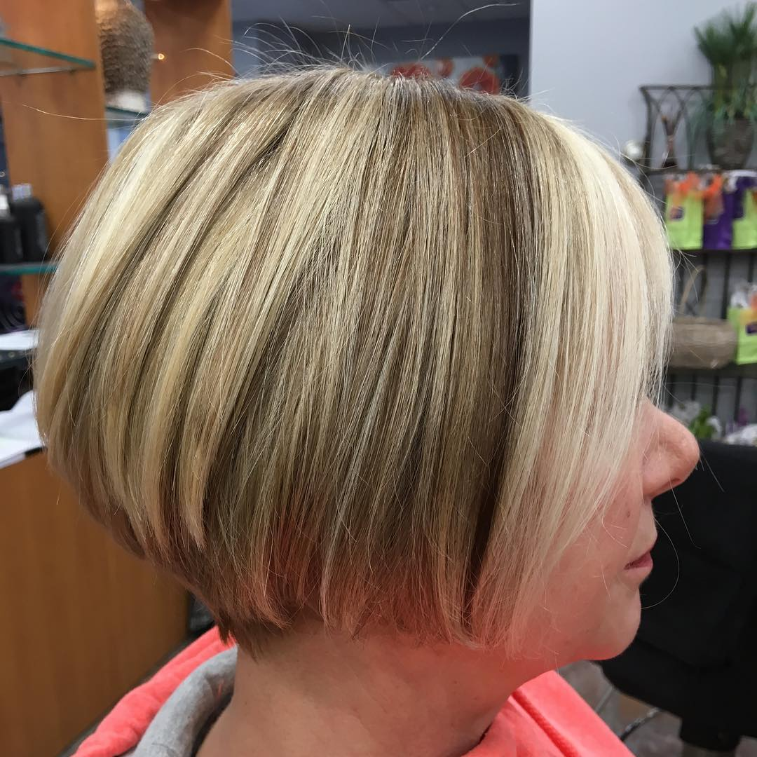 Over 50 Short Bronde Balayage Bob