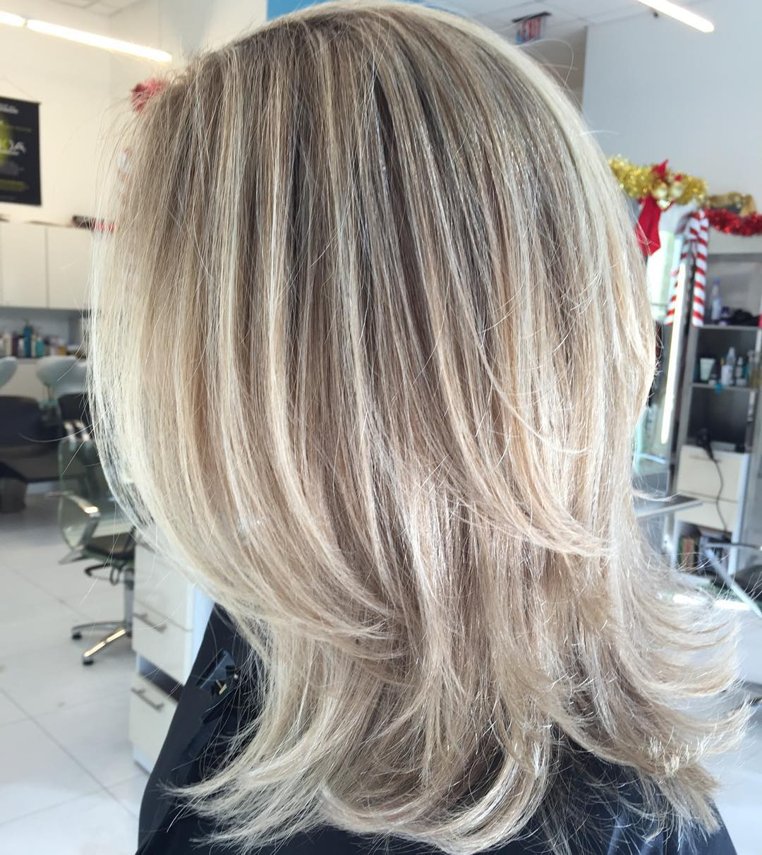 Medium Two-Layer Blonde Hairstyle