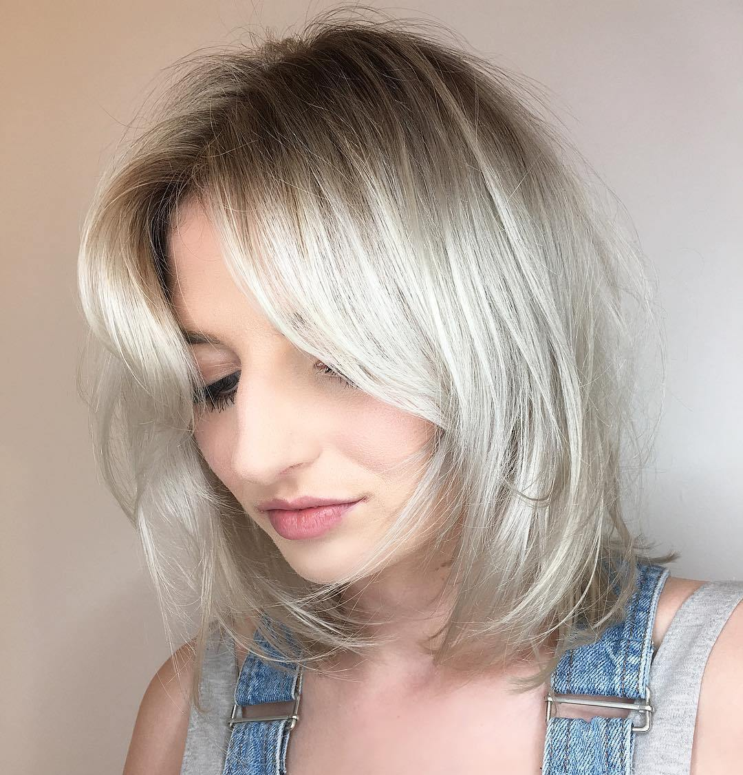 Medium Silver Shag Bob with Shadow Roots