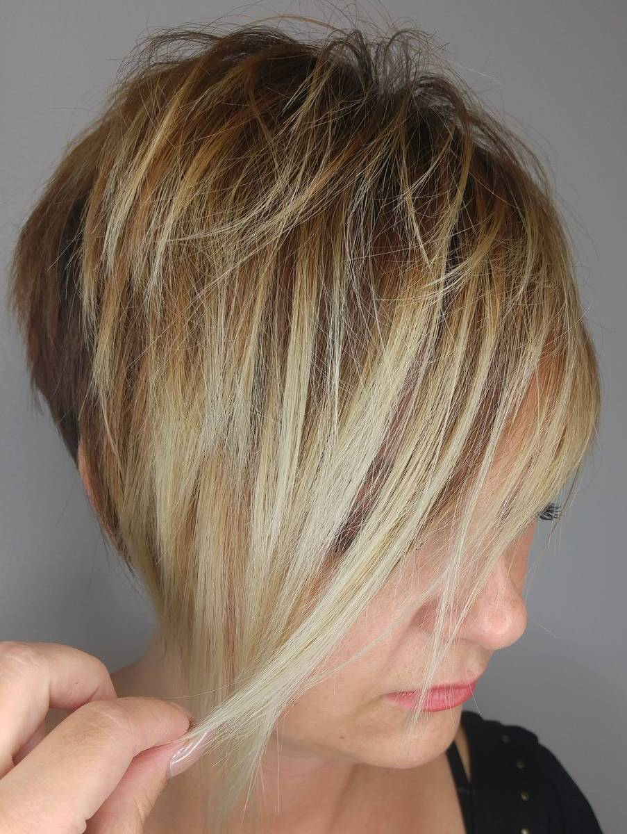 Caramel Blonde Pixie with Long Shaggy Bangs