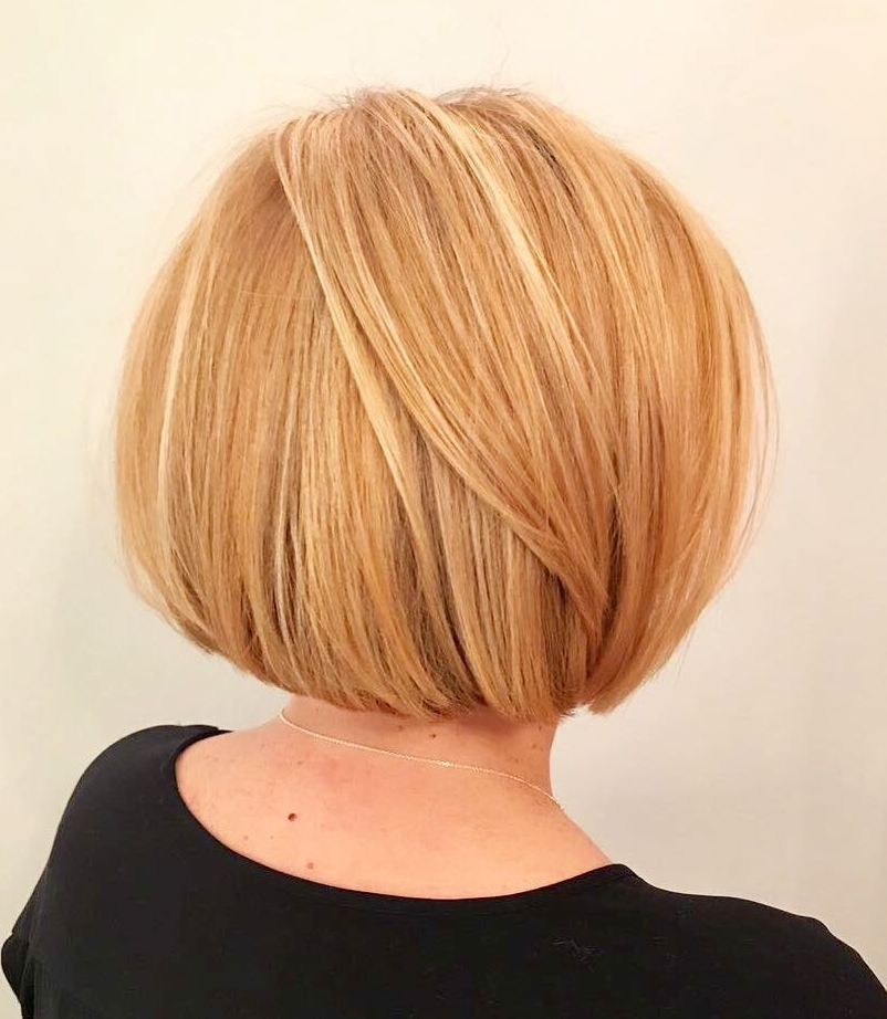 Sleek Rounded Honey Blonde Bob for Thick Hair