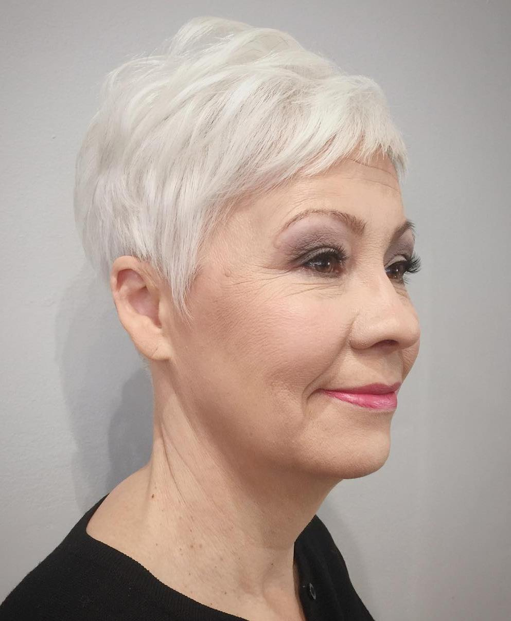 Short White Gray Pixie for Older Women
