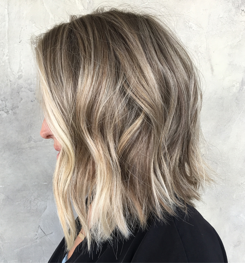 Ash Blonde Gray Lob with Balayage