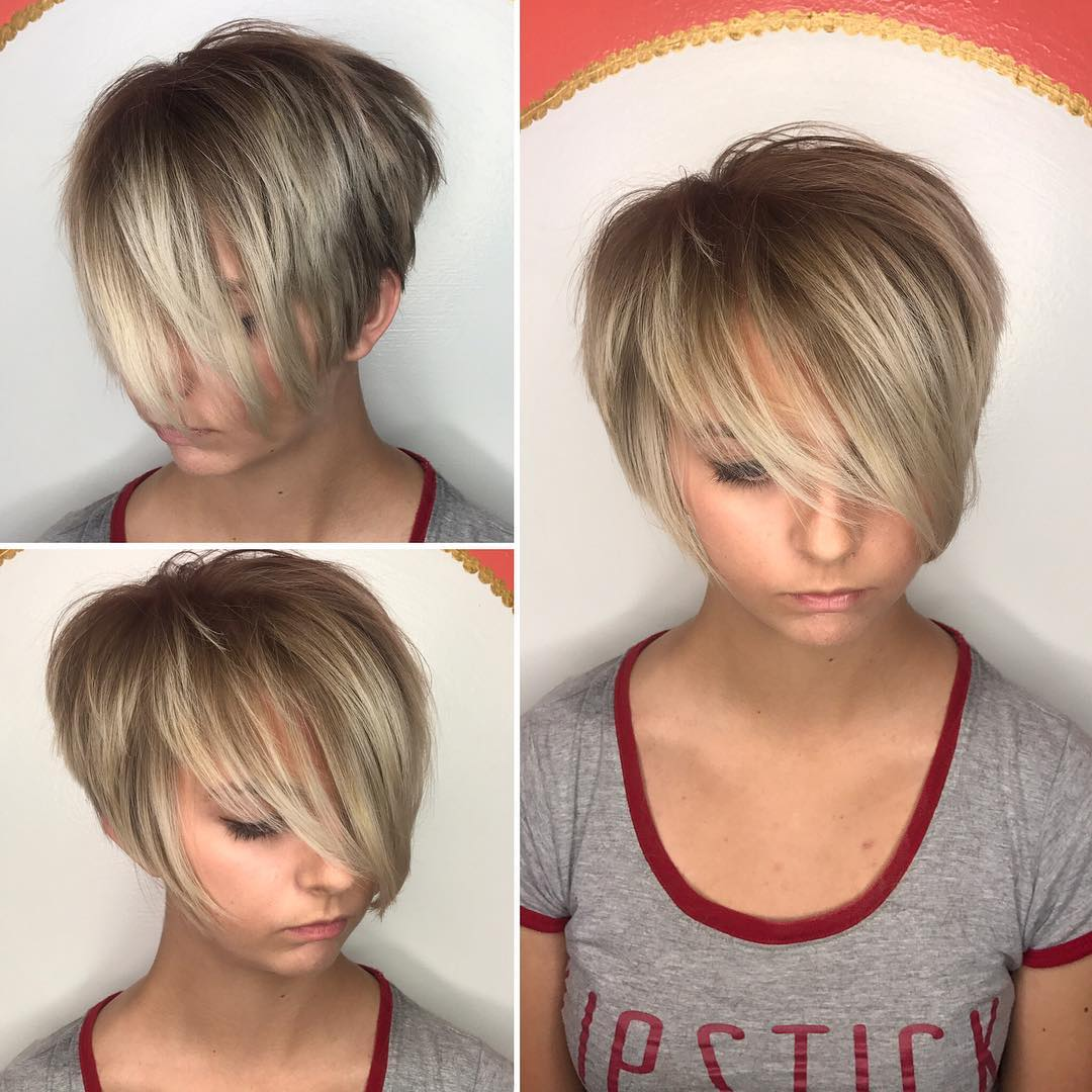 Short Shaggy Pixie with Blonde Balayage and Long Bangs