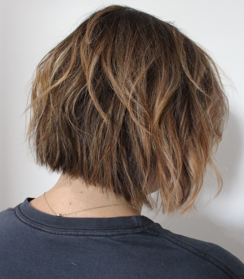 Messy Warm Brown Bob Shag