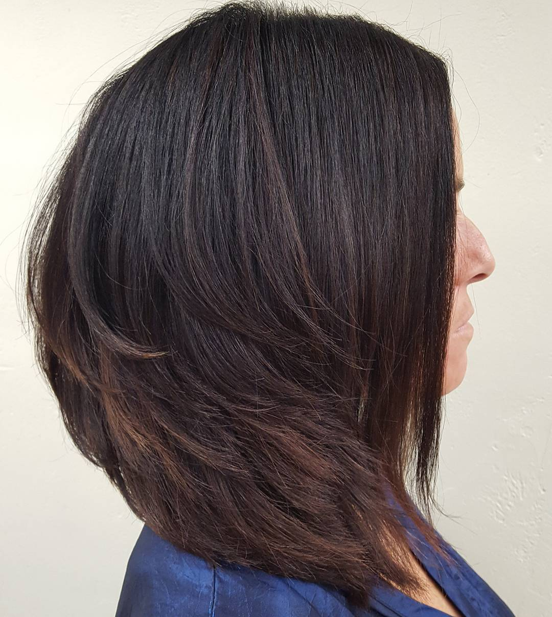 Feathered Inverted Lob for Thick hair