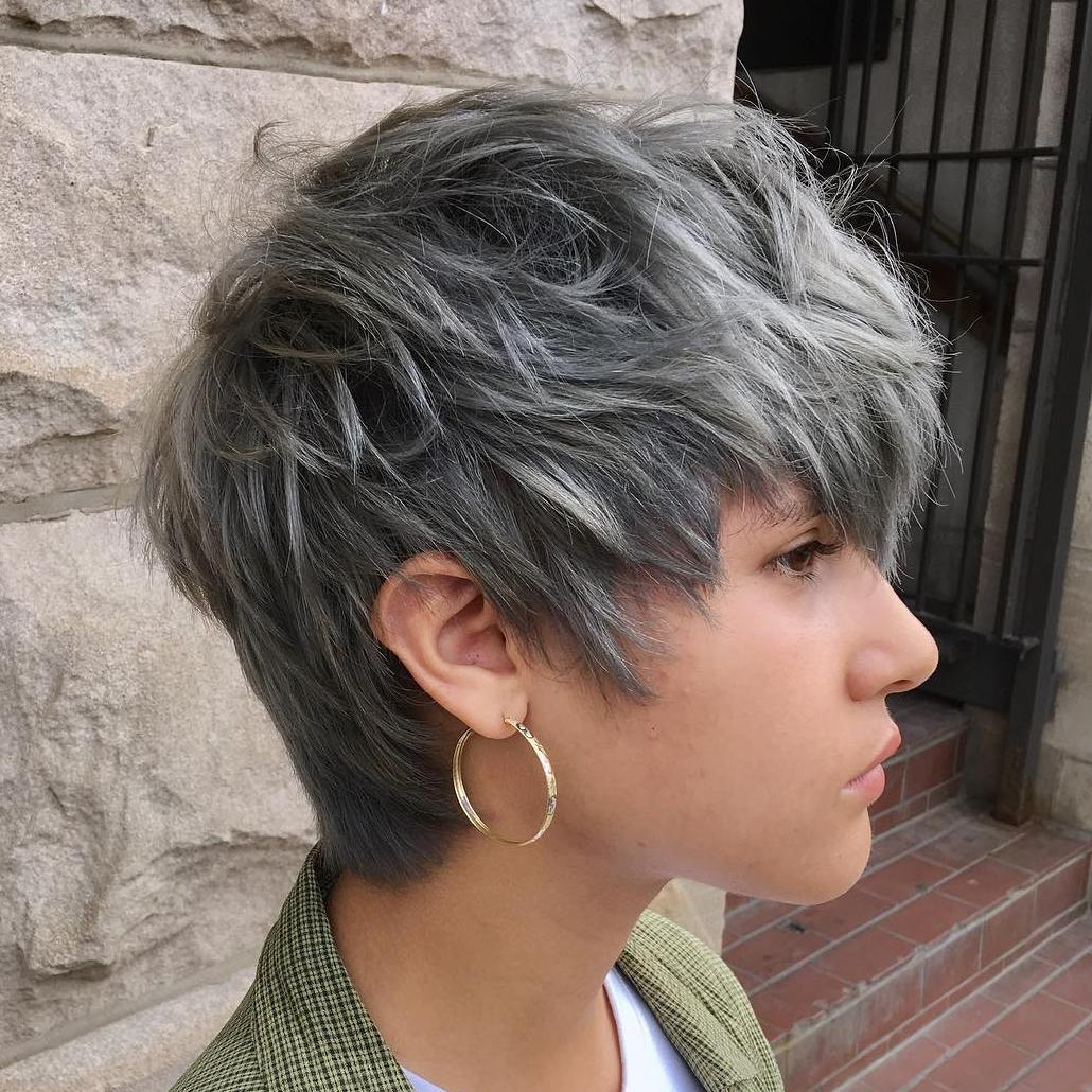 Short Shaggy Gray Hairstyle for Thick Hair